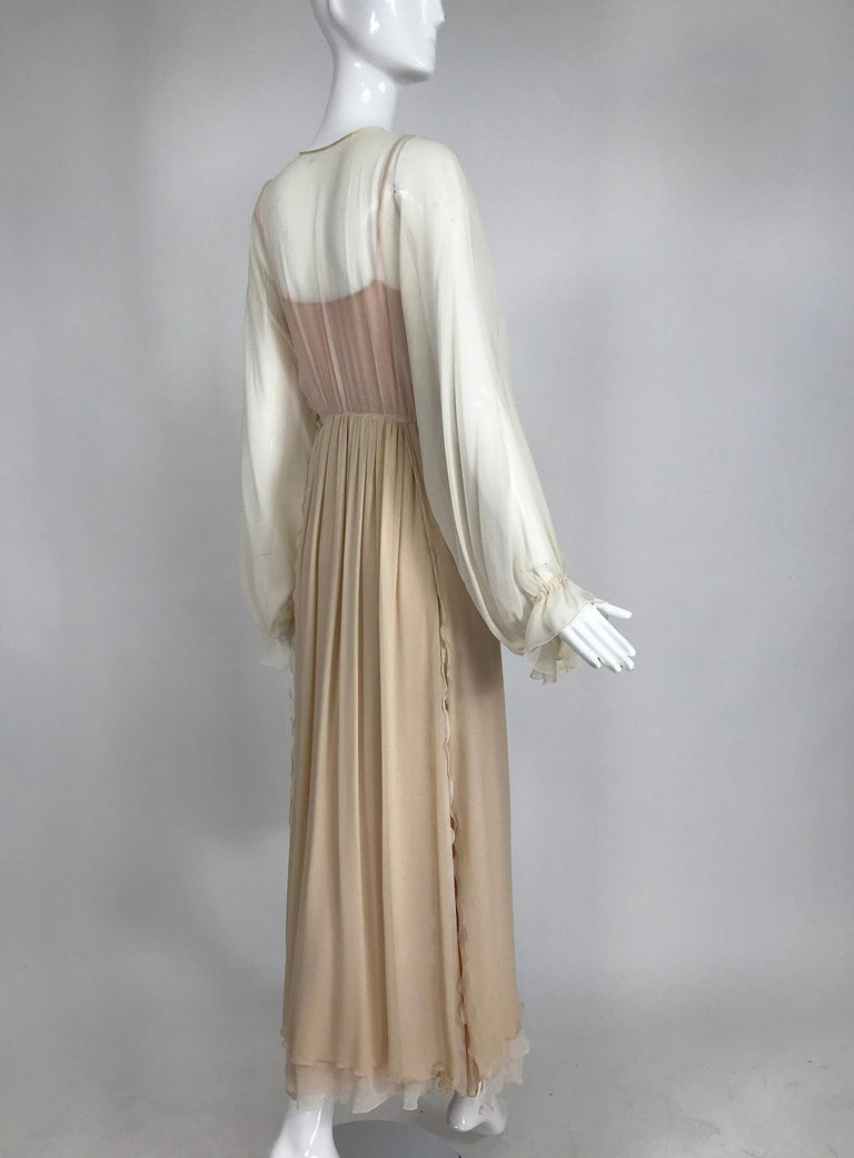 Layered Tone on Tone Silk Chiffon Poet Sleeve Maxi Dress 1970s In Good Condition For Sale In West Palm Beach, FL