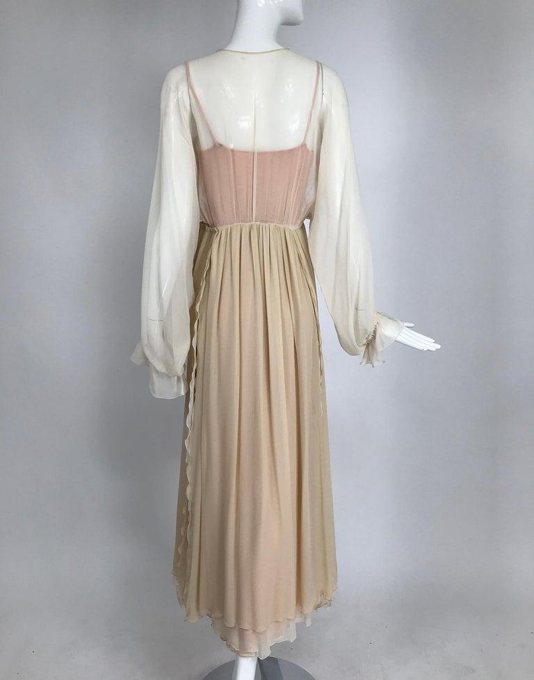 Women's Layered Tone on Tone Silk Chiffon Poet Sleeve Maxi Dress 1970s For Sale