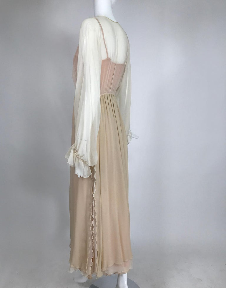 Layered Tone on Tone Silk Chiffon Poet Sleeve Maxi Dress 1970s For Sale 1