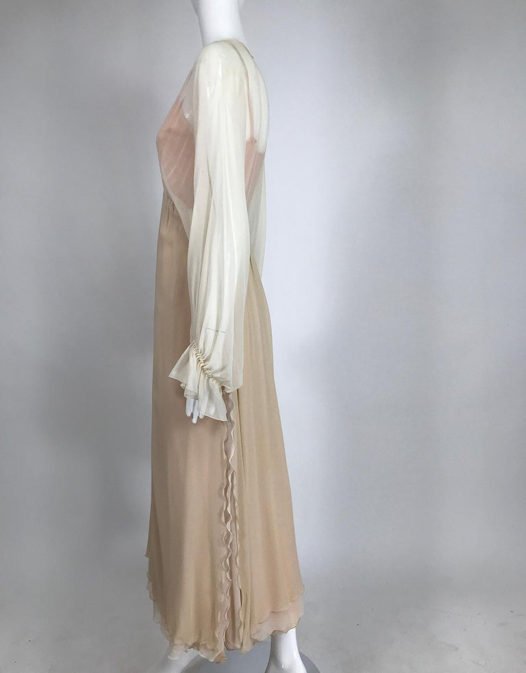 Layered Tone on Tone Silk Chiffon Poet Sleeve Maxi Dress 1970s For Sale 2