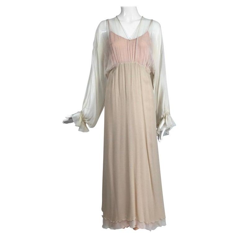 Layered Tone on Tone Silk Chiffon Poet Sleeve Maxi Dress 1970s For Sale