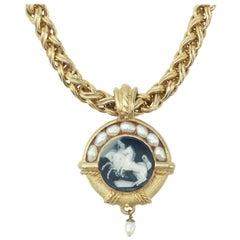 Lazaro NY Neoclassical Cameo Medallion Necklace, C.1990