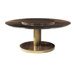 Lazy.2 Round Dining Table in Oak w/ Bronze Finish Metal Frame by Roberto Cavalli