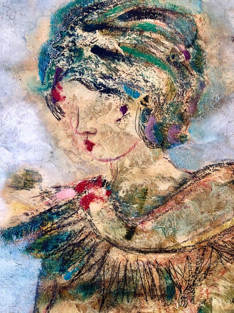 Large Italian Modernist Surrealist Lady Mod Oil Painting