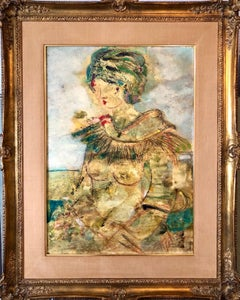 "Large Italian Modernist Surrealist Lady Mod Oil Painting ""La Mia Amica Carla"""