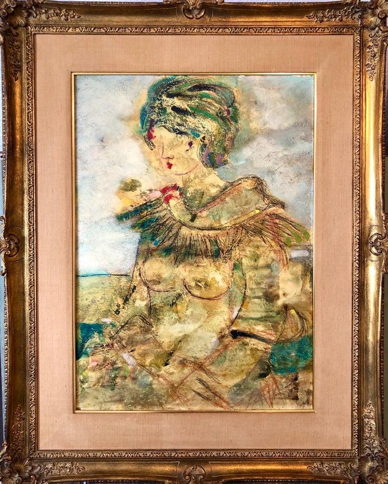 "Lazzaro Donati Portrait Painting - Large Italian Modernist Surrealist Lady Mod Oil Painting ""La Mia Amica Carla"""