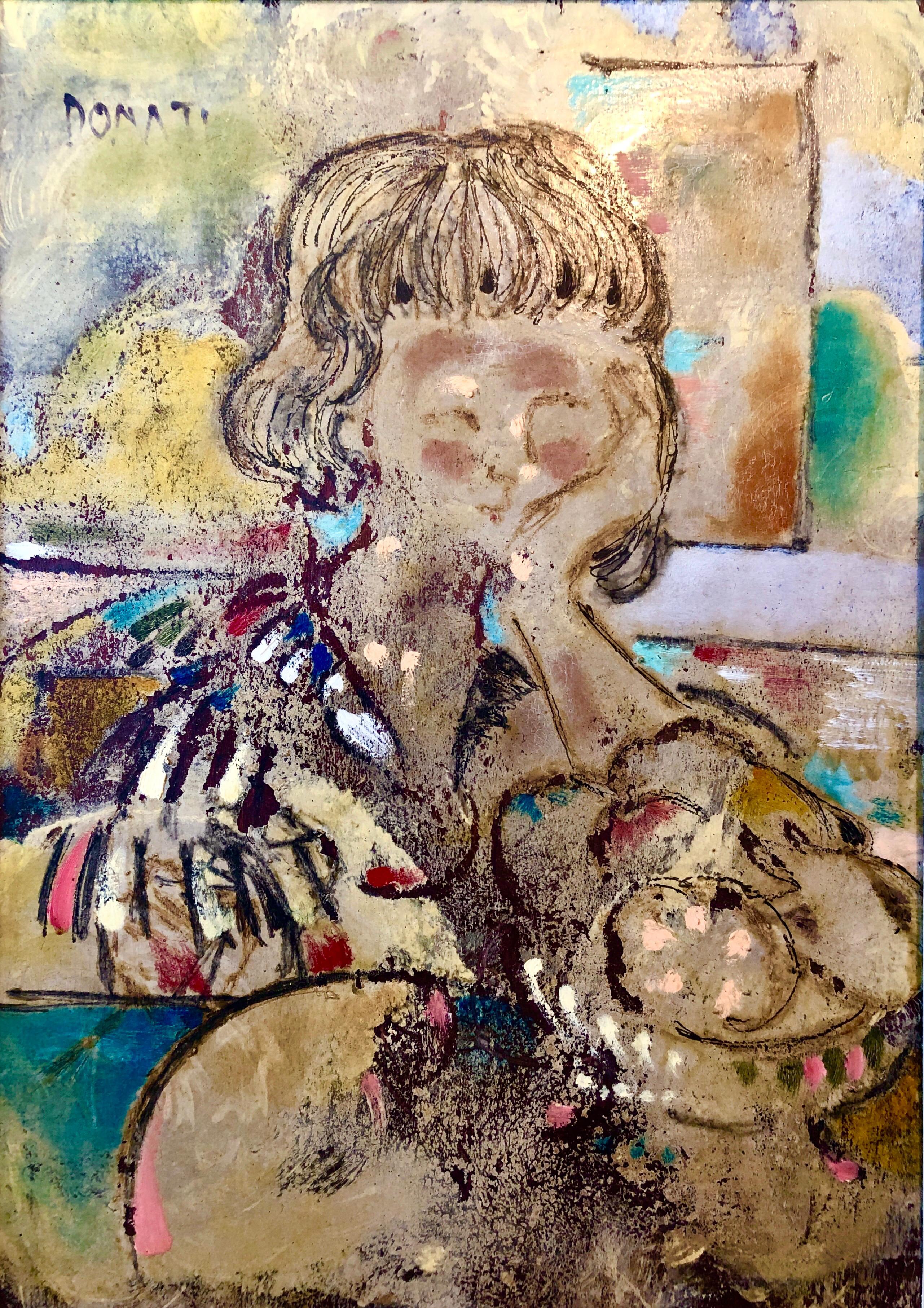 "Large Italian Modernist Surrealist Lady Mod Oil Painting ""La Ragazza Ungherese"""