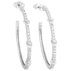 LB Exclusive 10 Karat White Gold 1.00 Carat Diamond Hoop Earrings