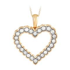 LB Exclusive 10k Yellow Gold 0.50 Ct Diamond Heart Pendant Necklace