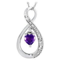 LB Exclusive 14 Karat Gold 0.03 Carat Diamond and Amethyst Pendant Necklace