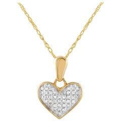 LB Exclusive 14 Karat Gold 0.08 Carat Diamond Heart Pendant Necklace