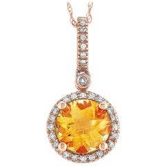 LB Exclusive 14 Karat Gold 0.11 Carat Diamond and Citrine Round Pendant Necklace