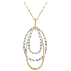 LB Exclusive 14 Karat Gold 0.17 Carat Diamond Layered Oval Pendant Necklace