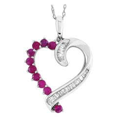 LB Exclusive 14 Karat Gold 0.20 Carat Diamond and Ruby Heart Pendant Necklace