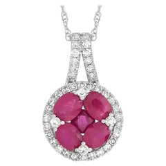 LB Exclusive 14 Karat Gold 0.25 Carat Diamond and 1.00 Ct Ruby Pendant Necklace