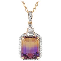 LB Exclusive 14 Karat Gold 0.25 Carat Diamond and Amethyst Pendant Necklace