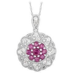 LB Exclusive 14 Karat Gold 0.27 Carat Diamond and Ruby Round Pendant Necklace