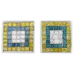 LB Exclusive 14 Karat Gold 0.40 Carat White Diamond and Colored Diamond Earrings