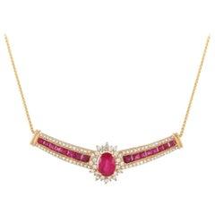 LB Exclusive 14 Karat Gold 0.75 Carat Diamond and 3.00 Carat Ruby Necklace
