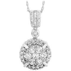 LB Exclusive 14 Karat Gold 1.25 Ct Round and Baguette Diamond Pendant Necklace