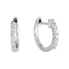 LB Exclusive 14 Karat Gold .25 Carat VS1 G Color Diamond Hoop Huggies Earrings