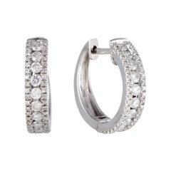 LB Exclusive 14 Karat Gold 3-Row .70 Carat VS1 G Color Diamond Hoop Huggies