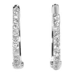 LB Exclusive 14 Karat Gold .31 Carat VS1 G Color Diamond Hoop Huggies Earrings