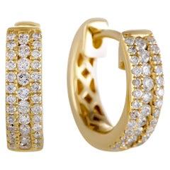LB Exclusive 14 Karat Gold .35 Carat VS1 G Color Diamond Small Hoop Huggies