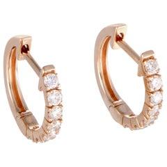 LB Exclusive 14 Karat Gold .50 Carat VS1 G Color Diamond Hoop Huggies Earrings