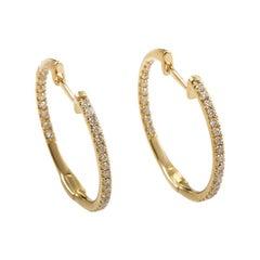 LB Exclusive 14 Karat Gold .51 Carat VS1 G Color Diamond Hoop Huggies Earrings