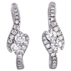 LB Exclusive 14 Karat Gold .65 Carat VS1 G Color Diamond Pave Hoop Earrings