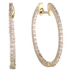 LB Exclusive 14 Karat Gold .75 Carat VS1 G Color Diamond Pave Inside Out Hoop