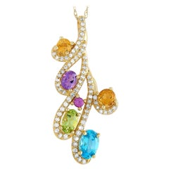 LB Exclusive 14 Karat Gold Diamonds and Semi-Precious Stones Pendant Necklace