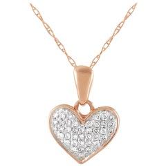 LB Exclusive 14 Karat Rose Gold 0.08 Carat Diamond Heart Pendant Necklace