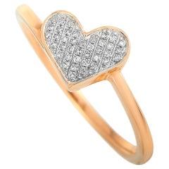 LB Exclusive 14 Karat Rose Gold 0.09 Carat Diamond Heart Ring