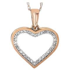 LB Exclusive 14 Karat Rose Gold 0.10 Carat Diamond Heart Pendant Necklace