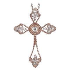 LB Exclusive 14 Karat Rose Gold 0.10 Carat Diamond Small Cross Pendant Necklace