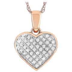 LB Exclusive 14 Karat Rose Gold 0.11 Carat Diamond Heart Pendant Necklace