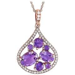 LB Exclusive 14 Karat Rose Gold 0.15 Carat Diamond and Amethyst Pendant Necklace