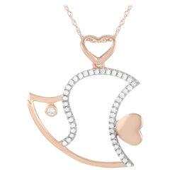LB Exclusive 14 Karat Rose Gold 0.15 Carat Diamond Fish Pendant Necklace