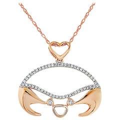 LB Exclusive 14 Karat Rose Gold 0.16 Carat Diamond Crab Pendant Necklace