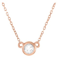 LB Exclusive 14 Karat Rose Gold 0.16 Carat Diamond Pendant Necklace