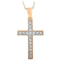 LB Exclusive 14 Karat Rose Gold 0.16 Carat Diamond Small Cross Pendant Necklace