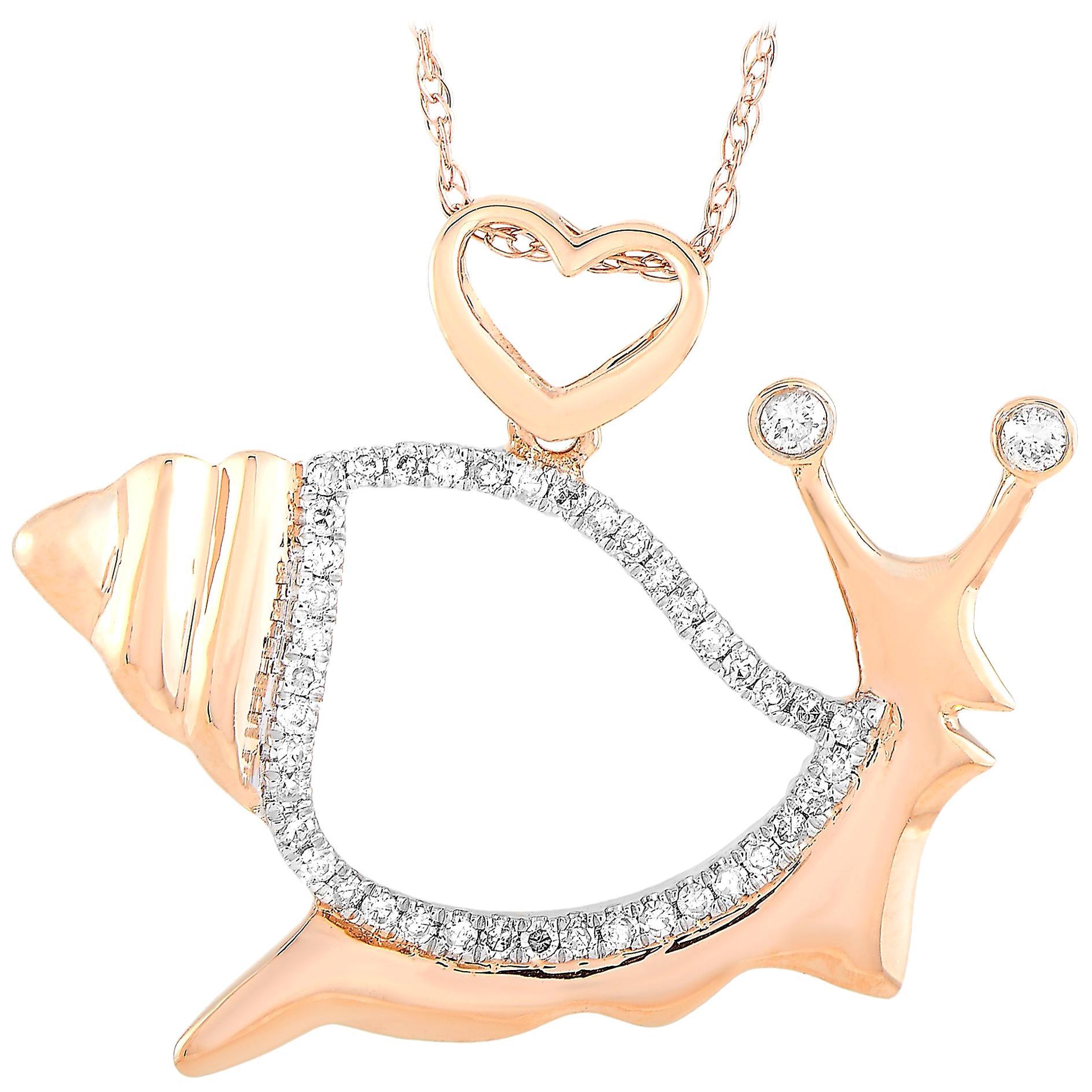LB Exclusive 14 Karat Rose Gold 0.16 Carat Diamond Snail Pendant Necklace