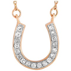 LB Exclusive 14 Karat Rose Gold 0.19 Carat Diamond Horseshoe Pendant Necklace