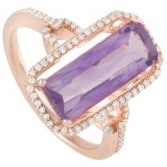 LB Exclusive 14 Karat Rose Gold 0.23 Carat Diamond and Rectangular Amethyst Ring