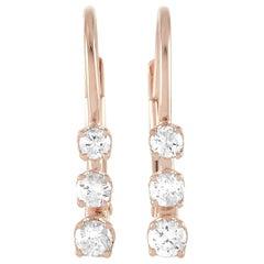 LB Exclusive 14 Karat Rose Gold 0.25 Carat Diamond Earrings