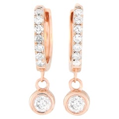 LB Exclusive 14 Karat Rose Gold 0.25 Carat Diamond Hoop Earrings