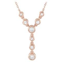 LB Exclusive 14 Karat Rose Gold 0.25 Carat Diamond Pendant Necklace