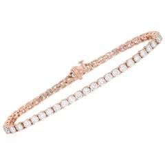LB Exclusive 14 Karat Rose Gold 7.72 Carat Diamond Tennis Bracelet